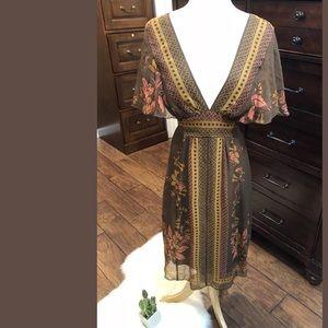 Anna Sui Anthropologie Sz 6 Belted V-Neck Dress